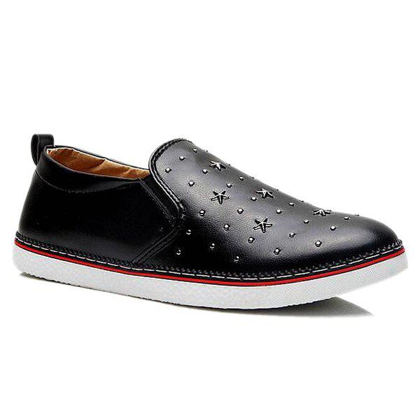 Stylish Solid Color and Star Design Men's Loafers - BLACK 43