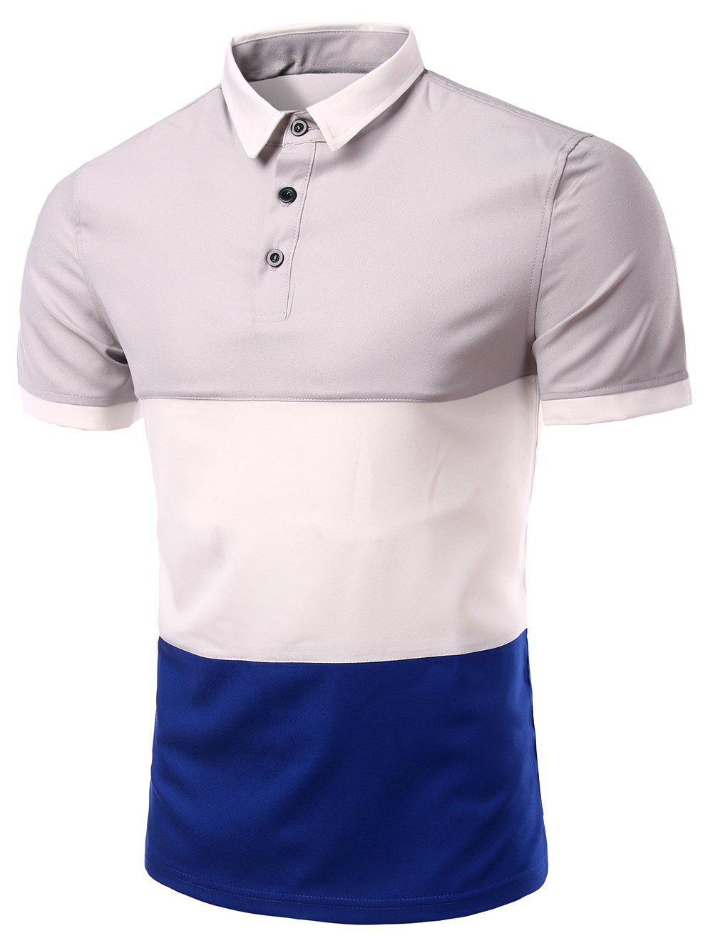 Men's Stylish Stripes Turn-down Collar Color Block  Short Sleeves Polo T-Shirt - GRAY 2XL
