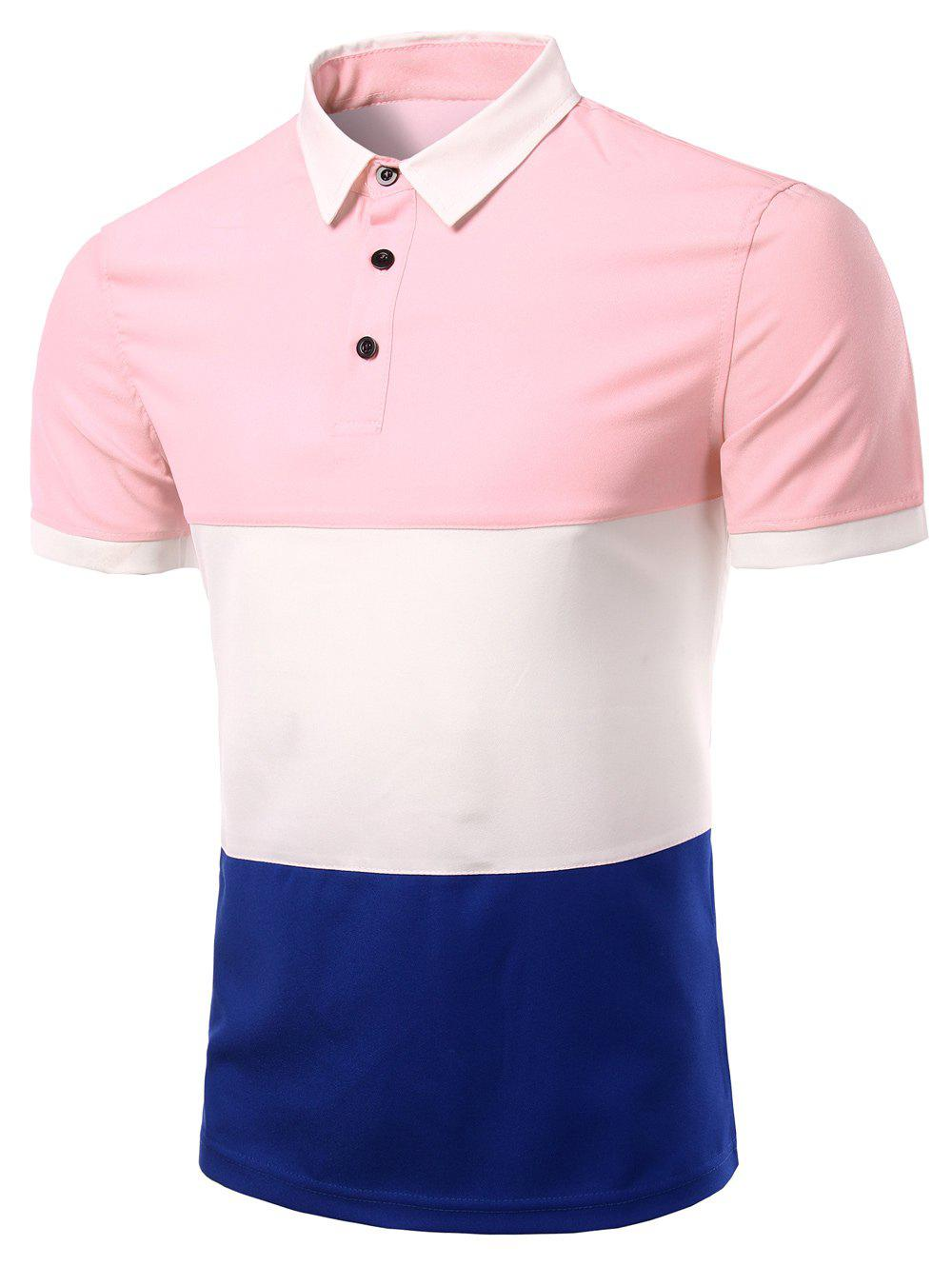 Men's Stylish Stripes Turn-down Collar Color Block  Short Sleeves Polo T-Shirt - PINK 3XL