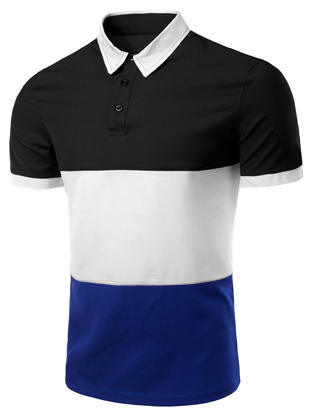 Men's Stylish Stripes Turn-down Collar Color Block  Short Sleeves Polo T-Shirt - BLACK M