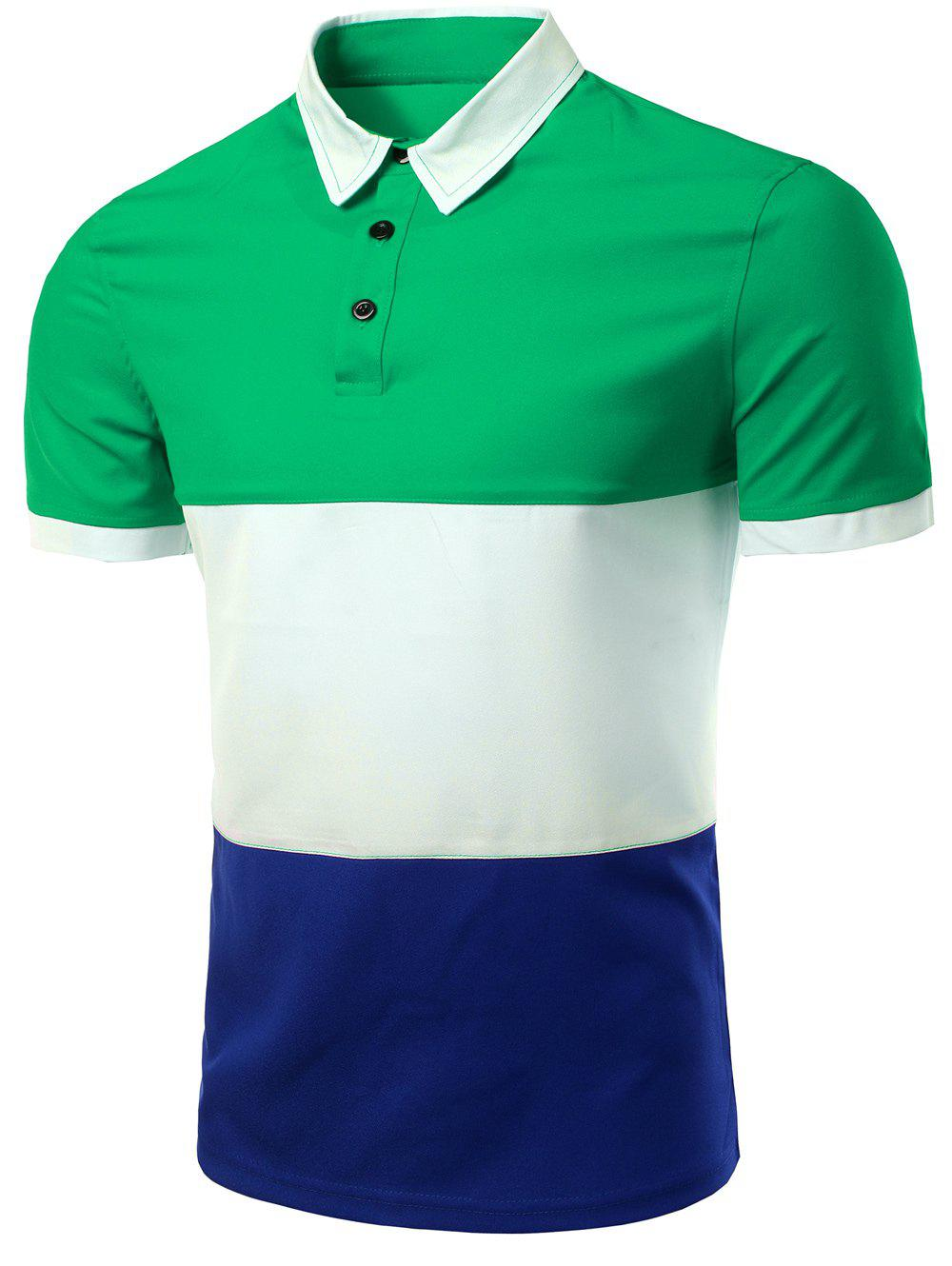 Men's Stylish Stripes Turn-down Collar Color Block  Short Sleeves Polo T-Shirt - GREEN M
