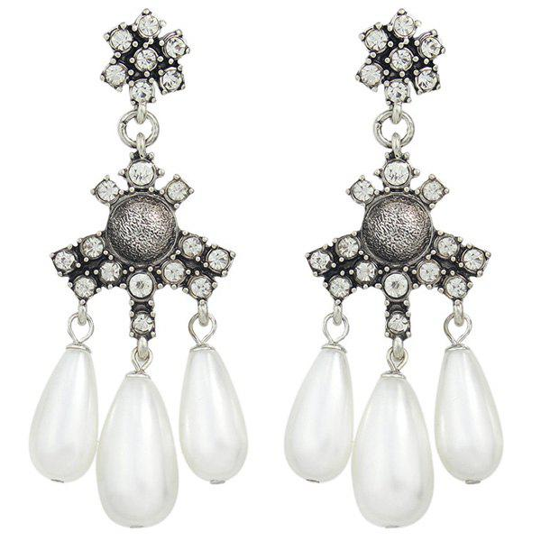 Pair of Noble Faux Pearl Water Drop Earrings For Women - WHITE