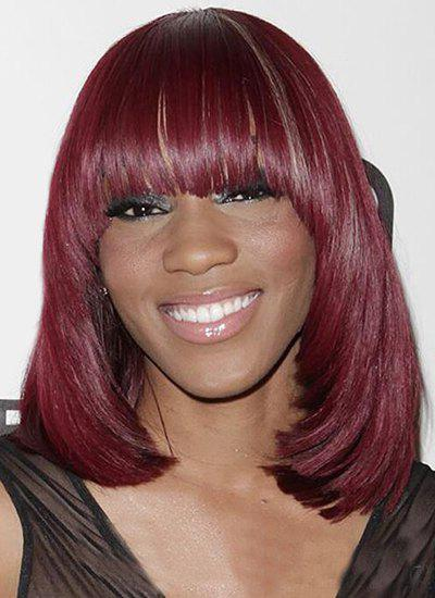 Fashion Women's Heat Resistant Synthetic Neat Bang Wig - WINE RED