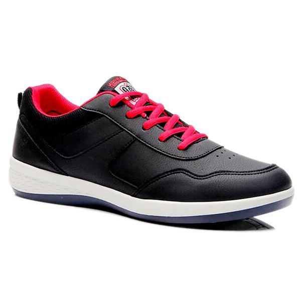 Concise Lace-Up and PU Leather Design Men's Athletic Shoes - BLACK 44