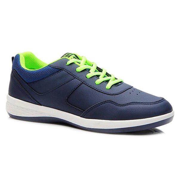 Concise Lace-Up and PU Leather Design Men's Athletic Shoes - DEEP BLUE 43
