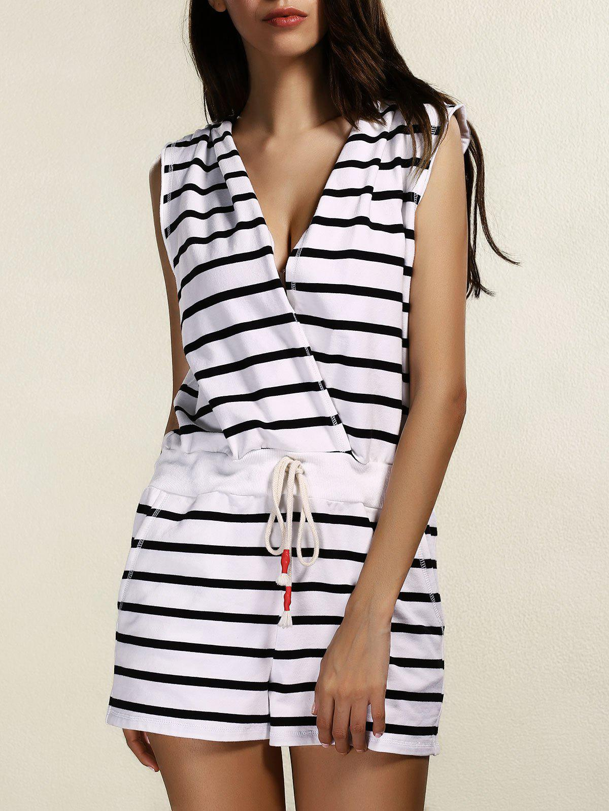 Stylish Women's Striped Hooded Cover-Up Romper