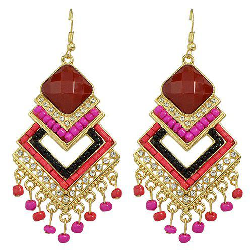 Pair of Stylish Rhinestone Bead Overlapped Geometry Pendant Earrings For Women - RED