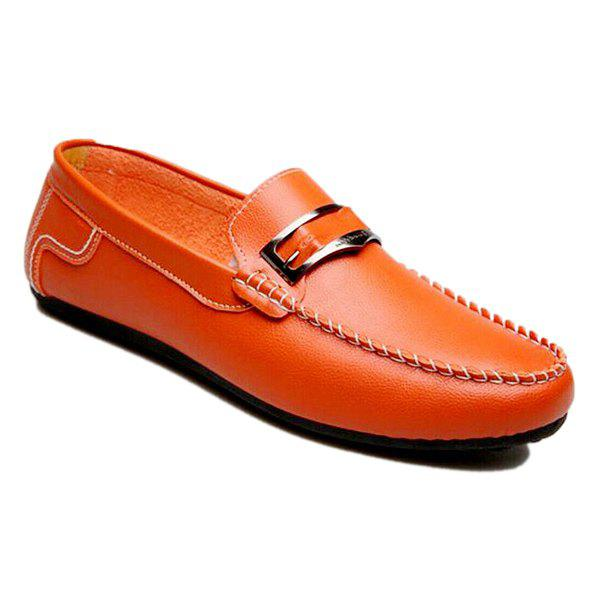 Casual Metal and Stitching Design Men's Loafers - ORANGE 40
