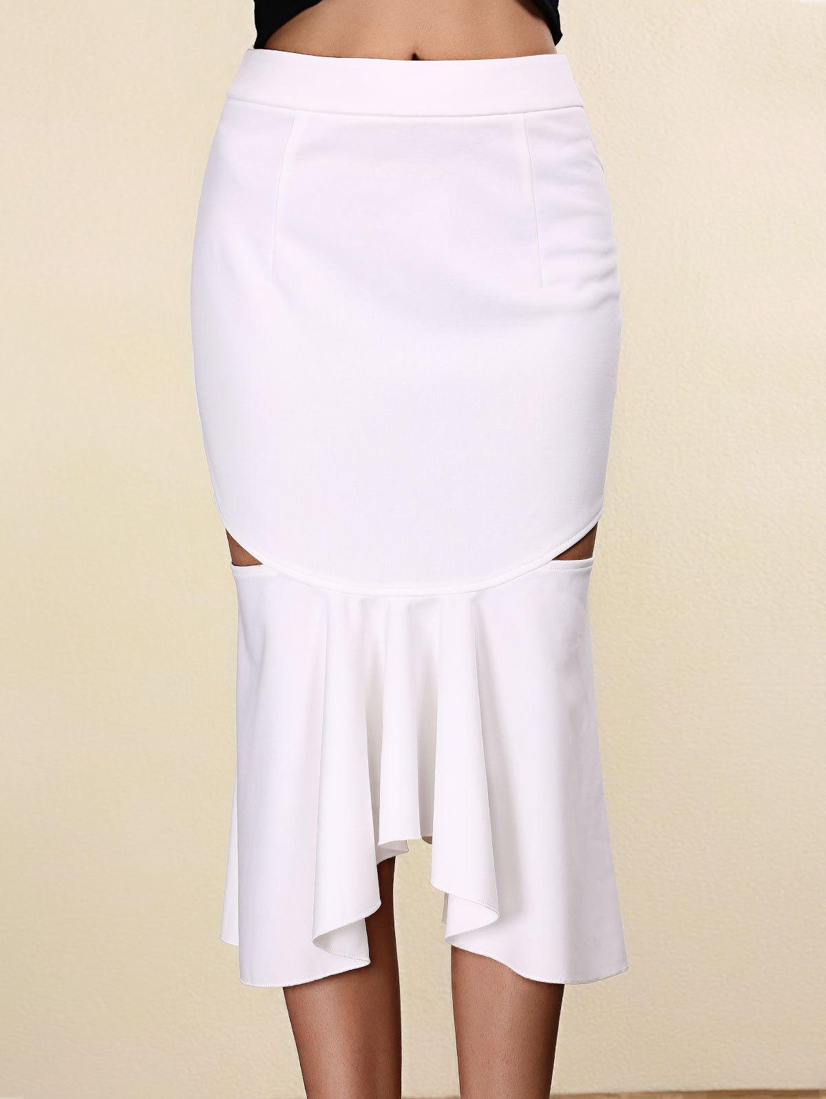 Trendy Pure Color Mermaid Cut Out Skirt For Women - WHITE S