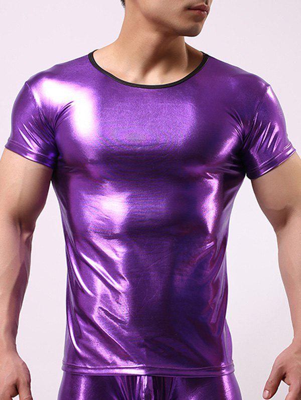 Slimming Round Collar Hot Stamping Solid Color Men's T-Shirt