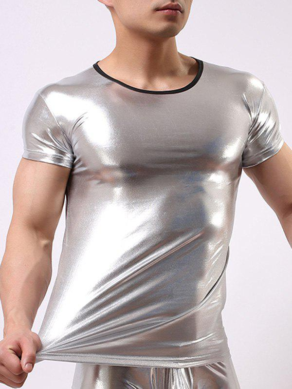 Slimming Round Collar Hot Stamping Solid Color Men's T-Shirt - SILVER M