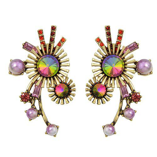 Pair of Stylish Faux Gem Tribal Sun Embellished Earrings For Women - GOLDEN