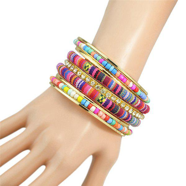Retro Colorful Multilayer Rhinestone Bead Rope Bracelet For Women