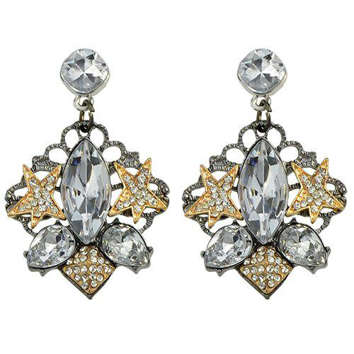 Pair of Oval Rhinestone Star Earrings - GOLDEN