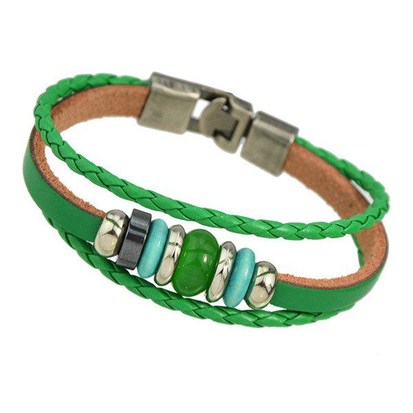 Retro Multilayer Faux Gem Knitted Rope Bracelet - GREEN