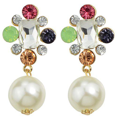 Pair of Stunning Artificial Pearl Rhinestone Earrings For Women -  GOLDEN