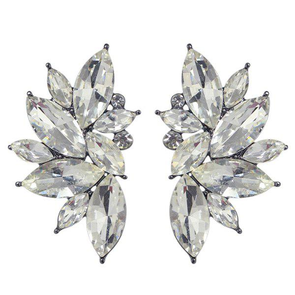 Pair of Retro Fake Crystal Leaf Earrings For Women цена