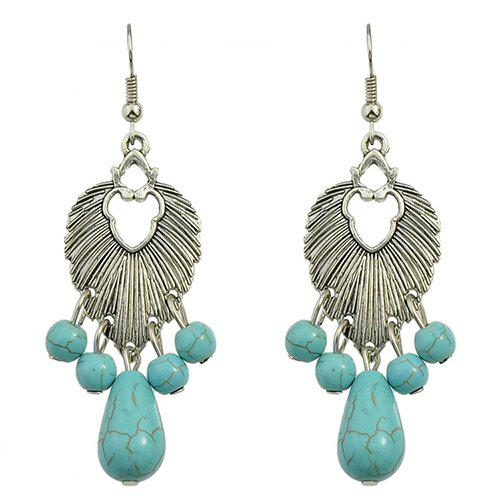 Pair of Hollow Out Faux Turquoise Drop Earrings - SILVER