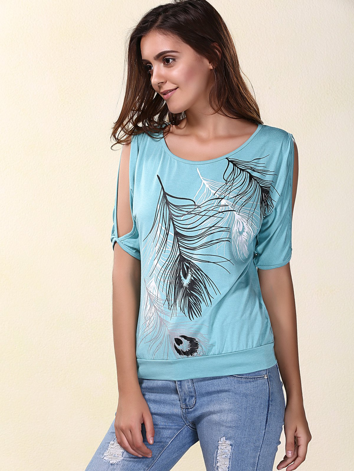 Stylish Scoop Neck Printed Short Sleeves Cold Shoulder T-Shirt For Women stylish printed scoop neck short sleeves cold shoulder t shirt for women