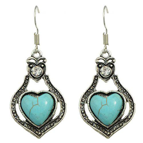 Pair of Charming Faux Turquoise Heart Earrings For Women - SILVER