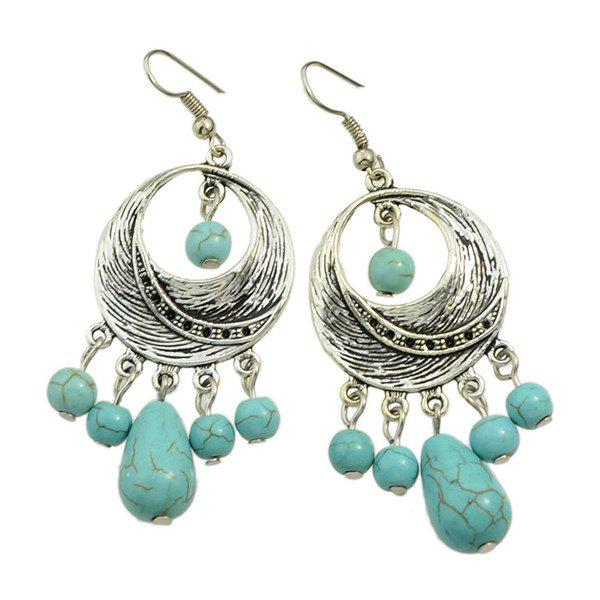 Pair of Charming Faux Turquoise Moon Earrings For Women