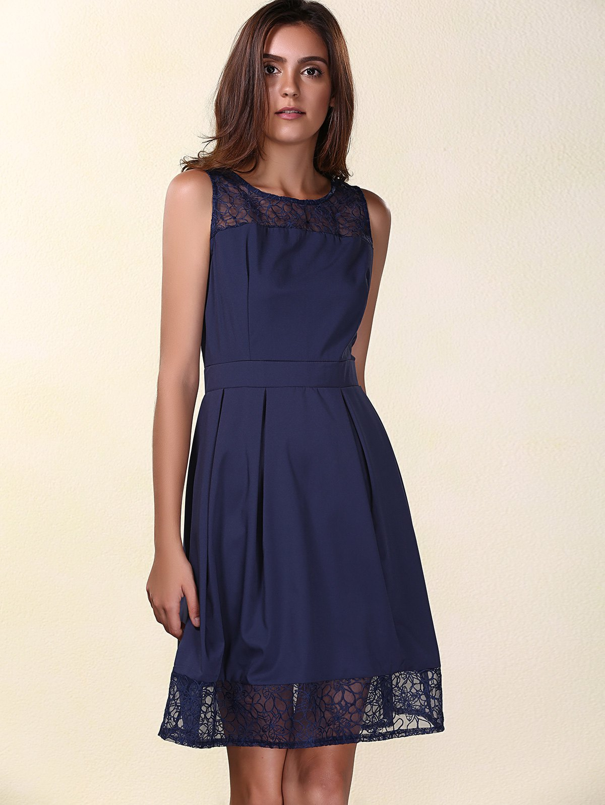 Trendy Sleeveless Round Neck Solid Color Lace Spliced Women's Dress - PURPLISH BLUE S