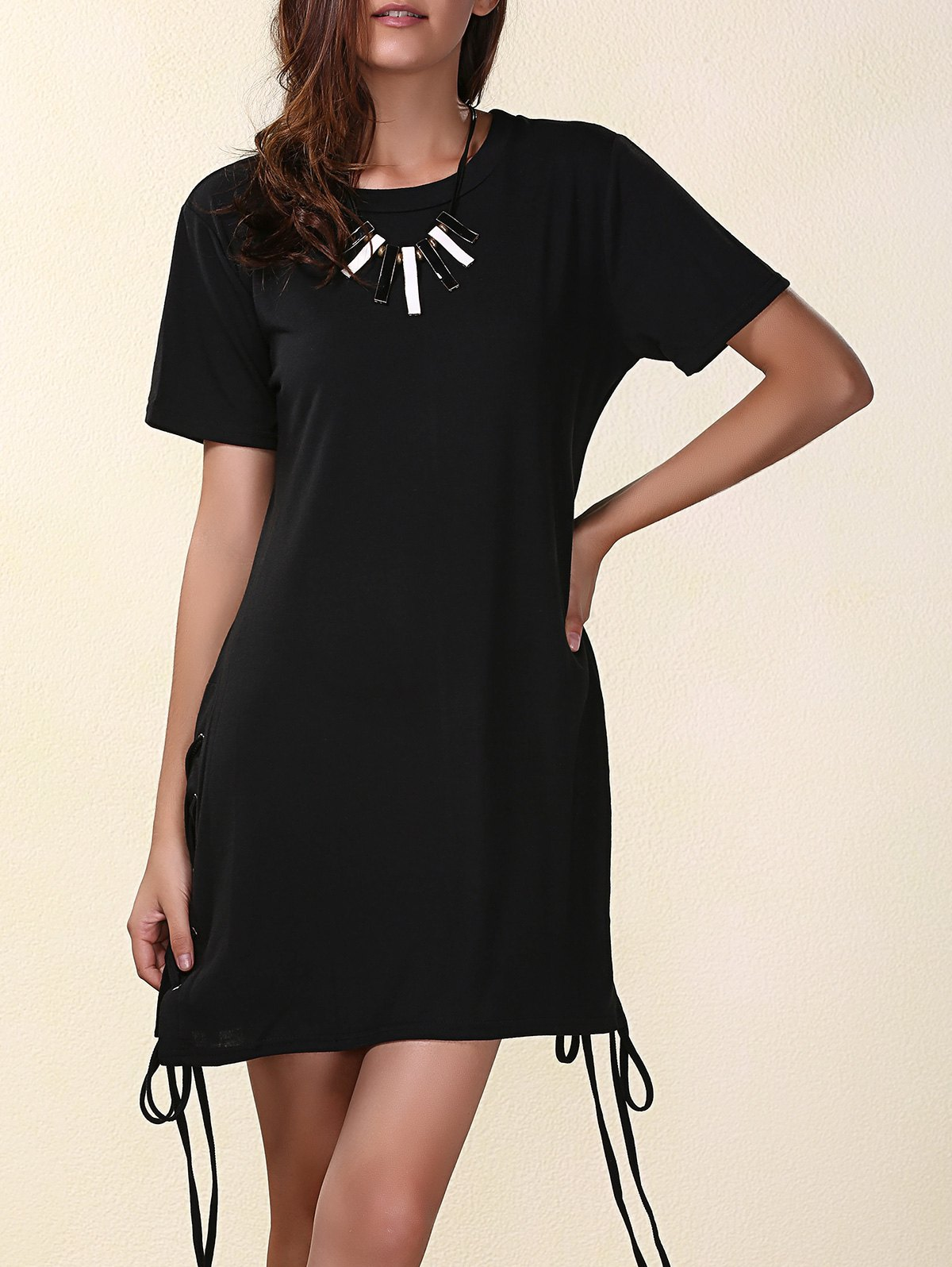 Stylish Round Neck Short Sleeves Strappy Pure Color Women's Dress - BLACK S