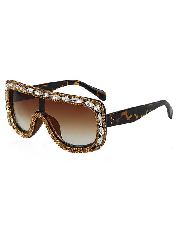 Chic Rhinestone Leopard Pattern Shield Sunglasses For Women - BROWN