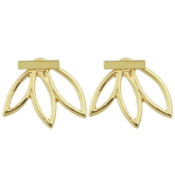 Pair of Hollow Out Leaf Stud Earrings - GOLDEN