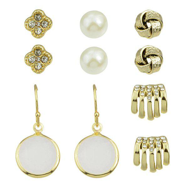 A Suit of Chic Artificial Pearl Floral Earrings For Women - GOLDEN