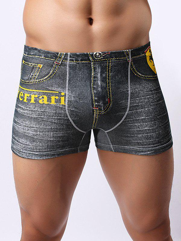 где купить  Comfortable Non-Trace Low Waist Ferrari Printed Boxers Briefs For Men  по лучшей цене