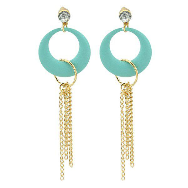 Pair of Chic Rhinestone Round Chains Earrings For Women