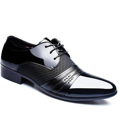 Stylish Splicing and Pointed Toe Design Men's Formal Shoes - BLACK 44