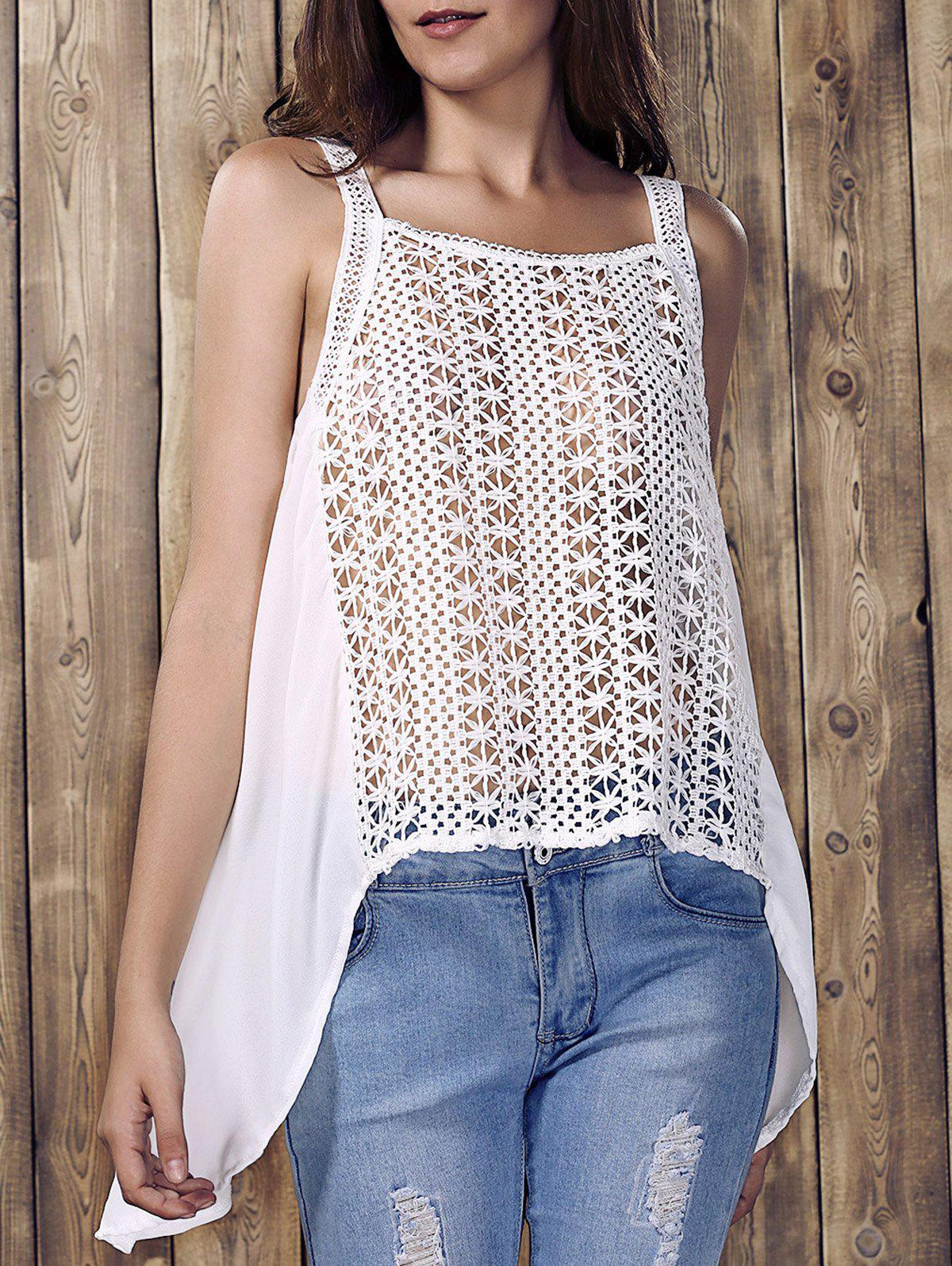 High Low Hollow Out Tank Top - WHITE S