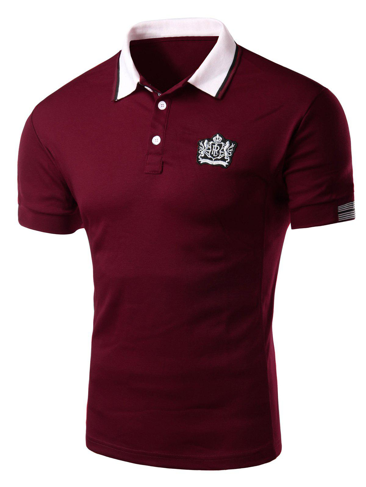 Men  Slim Fit de 'Casual Turn Down Collar Solid Color courtes T-shirt à manches Polo - Rouge Foncé L