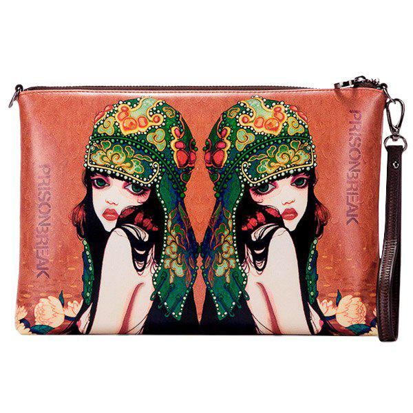 Stylish Letter and Figure Print Design Women's Clutch Bag - BROWN
