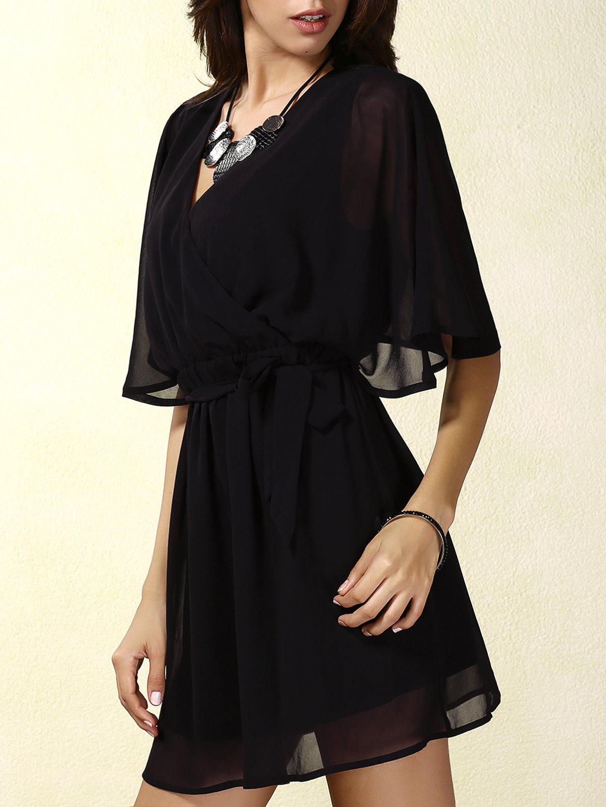 Stylish Women's V-Neck Short Sleeve Lace Splicing Wrap Dress