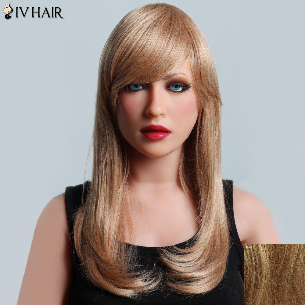 Attractive Long Side Bang Siv Hair Natural Straight Capless Women's Human Hair Wig - LIGHT BLONDE /2