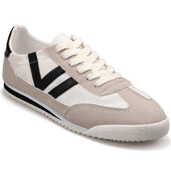Fashionable Splicing and Hit Color Design Men's Casual Shoes - OFF WHITE 42