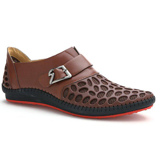 Fashion Buckle and Breathable Design Men's Casual Shoes - BROWN 42