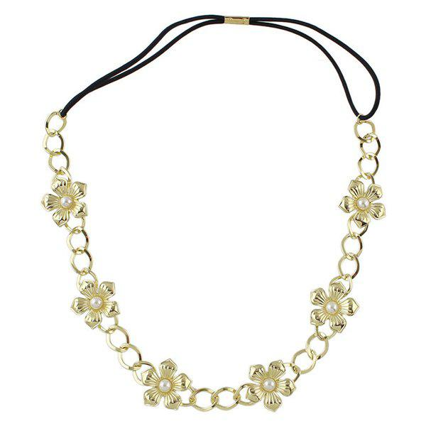 Chic Style Faux Pearl Flower Elastic Hair Band For Women - GOLDEN