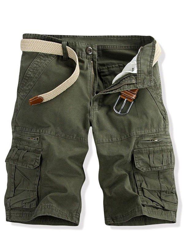 Casual Multi-pockets Solid Color Men's Cargo Shorts - ARMY GREEN 28