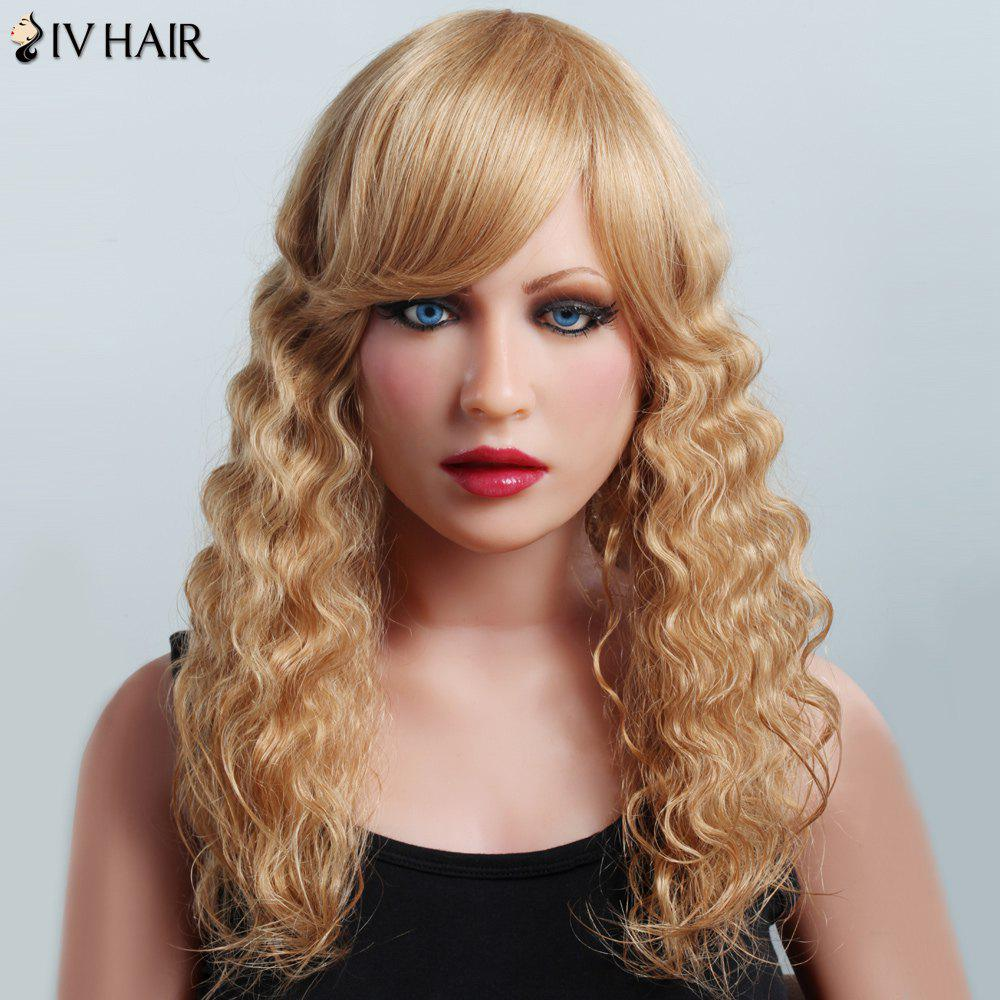 Bouffant Curly Corn Hot Hairstyle Siv Hair Stunning Long Women's Human Hair Wig - LIGHT BLONDE /