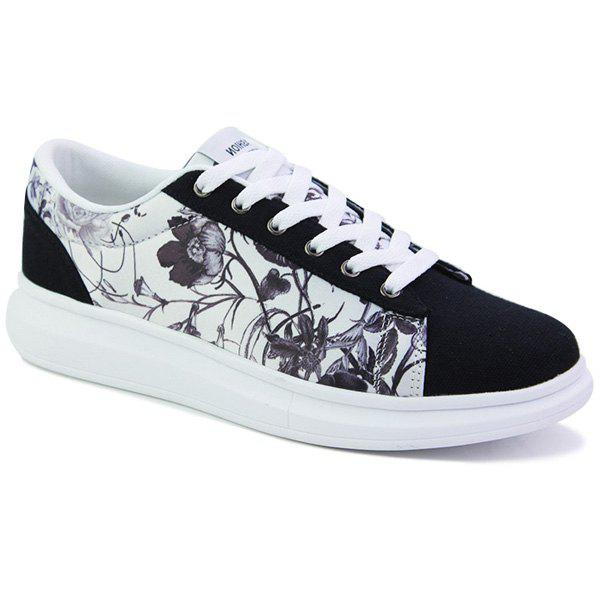Stylish Multicolor and Floral Print Design Men's Canvas Shoes - 41 WHITE/BLACK