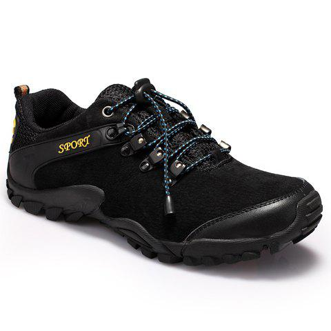 Fashionable Splicing and Black Color Design Men's Athletic Shoes - BLACK 42