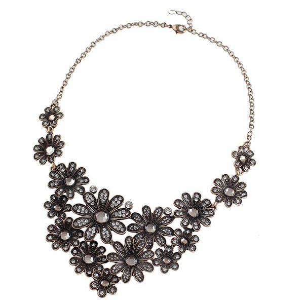 Rhinestoned Blossom Necklace - GOLDEN
