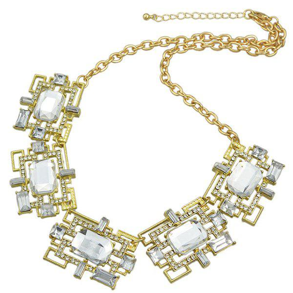 Geometric Rhinestone Alloy Necklace - GOLDEN