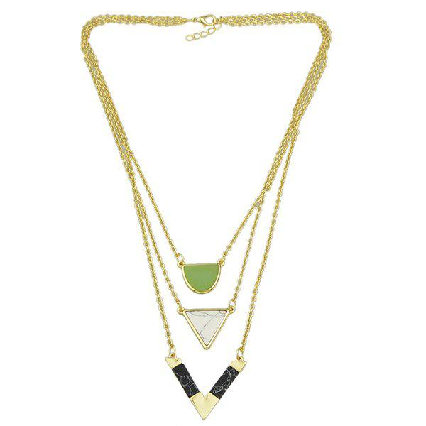 Triangle Multilayered Chains Necklace