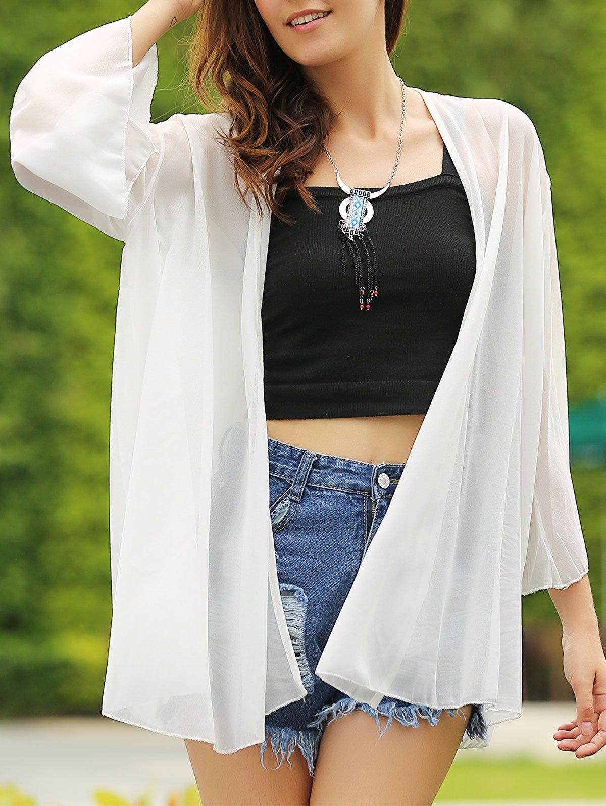 Casual Solid Color Collarless Batwing 3/4 Sleeve Women's Cover-Up - WHITE S