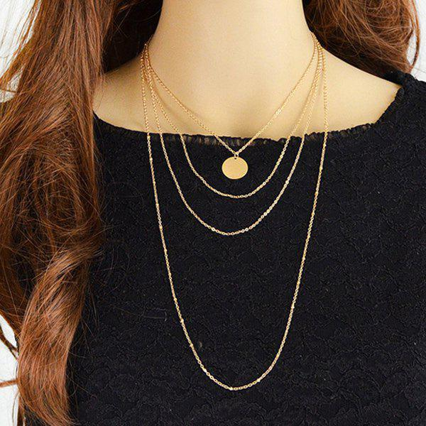 Round Multilayered Sequin Necklace - GOLDEN